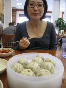 Steamed dumplings at lunch