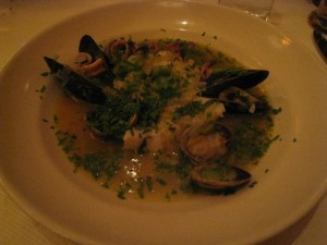 Fish and shellfish ragoût with fava beans and chervil